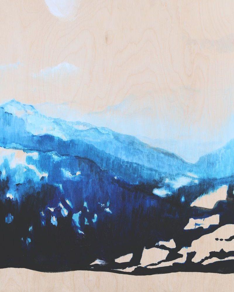 2016, perspective bleue, 40X 30 cm, acrylique et encre sur bois