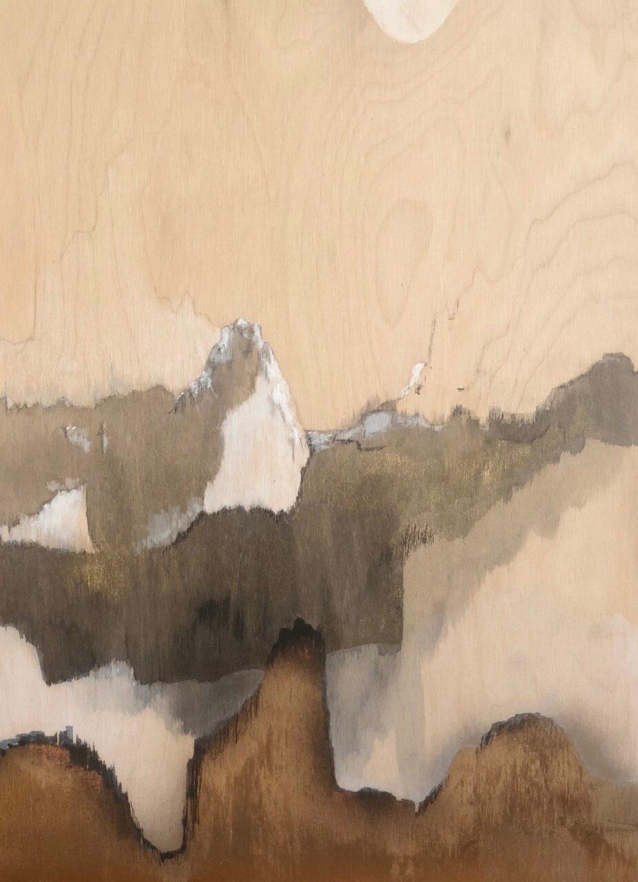 Techniques mixtes  Acrylique et dorure Sur bois  Format 30 X 40 cm 2018